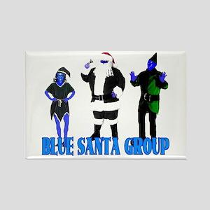 Blue Santa Group Rectangle Magnet