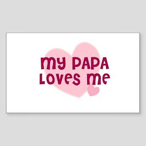My Papa Loves Me Rectangle Sticker