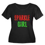 Sparkle Girl Women's Plus Size Scoop Neck Dark T-S