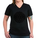 Chinese Longevity Women's V-Neck Dark T-Shirt