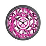 Pink Peace Symbols Wall Clock