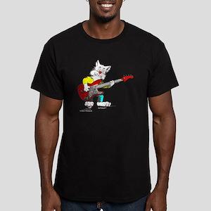 Catoons™ Bass Guitar Cat Men's Fitted T-Shirt (dar