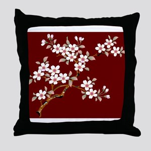 Japanese textile Cherry tree Throw Pillow