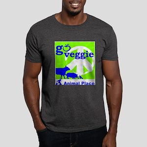 Go Veggie/Peace-Adult Clothing Dark T-Shirt
