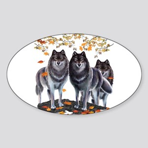Wolves In Fall Oval Sticker
