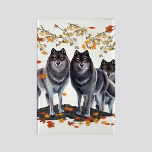 Wolves In Fall Rectangle Magnet