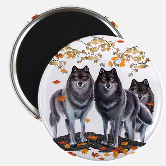 Wolves In Fall Magnet