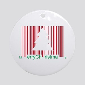 Merry Christmas Barcode Ornament (Round)