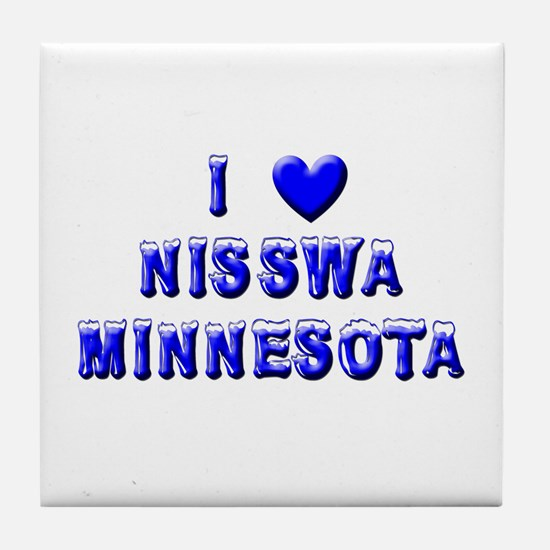 I Love Nisswa Winter Tile Coaster
