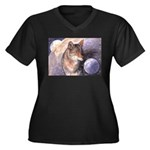 Coyote Moon Women's Plus Size V-Neck Dark T-Shirt