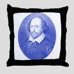 William Shakespeare Blues Throw Pillow