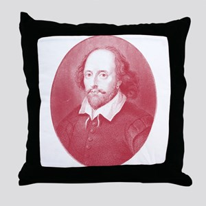 Red Faced William Shakespeare Throw Pillow
