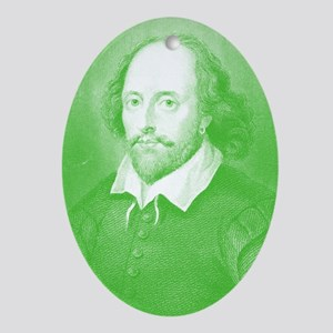 William Shakespeare Gone Green Oval Ornament
