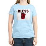 Bless U (dark red) Women's Pink T-Shirt