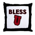 Bless U (dark red) Throw Pillow