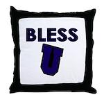 Bless U (dark Blue) Throw Pillow