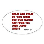 Christian Greeting Design Oval Sticker