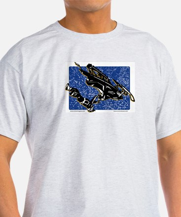 Graphic Snowmobiler in Blue T-Shirt