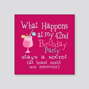"""42nd Birthday Party Square Sticker 3"""" x 3"""""""