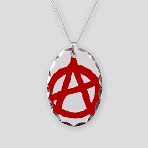 Anarchist 1 (red) Necklace Oval Charm