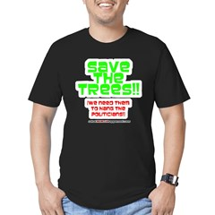 SAVE THE TREES!! Men's Fitted T-Shirt (dark)