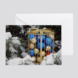 Gold Bow Ornaments Greeting Card
