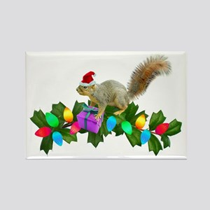 Squirrel Christmas Lights Rectangle Magnet