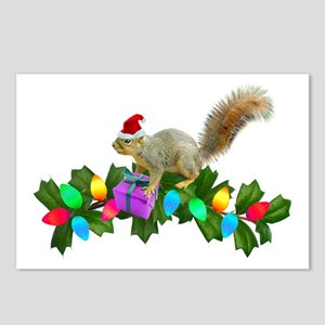 Squirrel Christmas Lights Postcards (Package of 8)