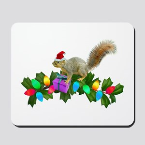 Squirrel Christmas Lights Mousepad