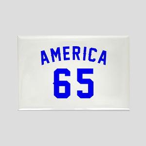 America 65 Birthday Rectangle Magnet