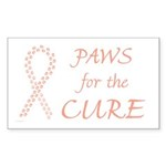 Peach Paws4Cure Rectangle Sticker 10 pk)