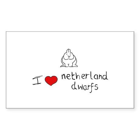 I Heart Netherland Dwarf Rabbits Sticker (Rectangu
