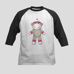 Pink Sock Monkey Kids Baseball Jersey