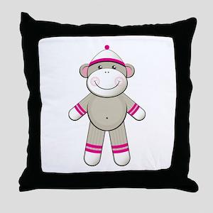 Pink Sock Monkey Throw Pillow
