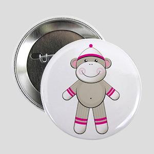 """Pink Sock Monkey 2.25"""" Button"""