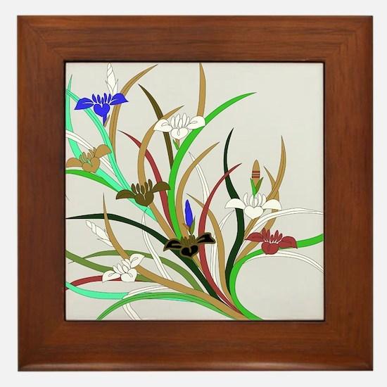Japanese textile Kakitsubata Framed Tile