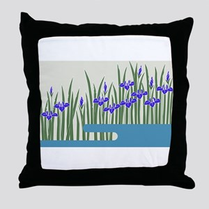 Japanese textile Kakitsubata Throw Pillow