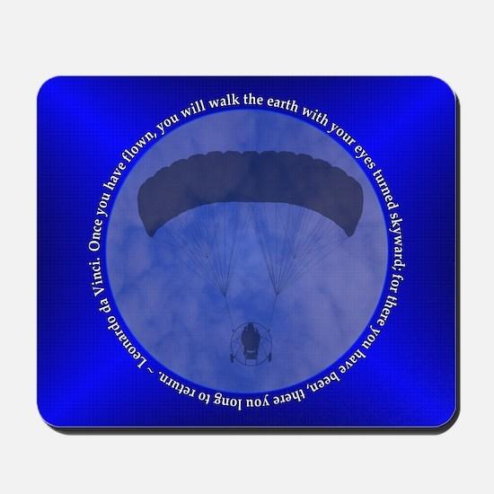 Powered Parachute Blue Leonardo da Vinci Mousepad