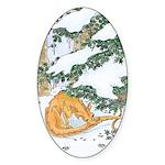 Snow Dragon II Oval Sticker (10 pk)