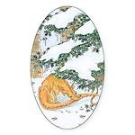 Snow Dragon II Oval Sticker