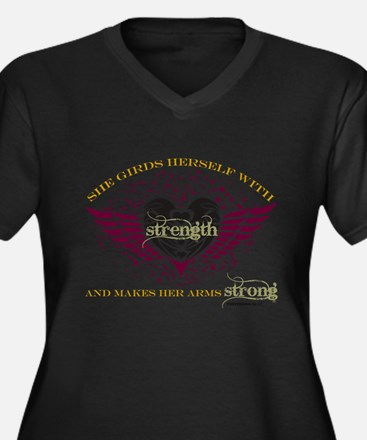 Makes Her Arms Strong Women's Plus Size V-Neck Dar