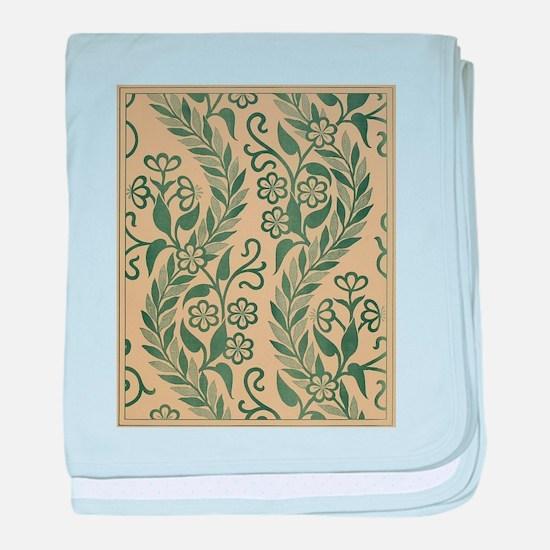 Light Green Leafy Vines Design baby blanket