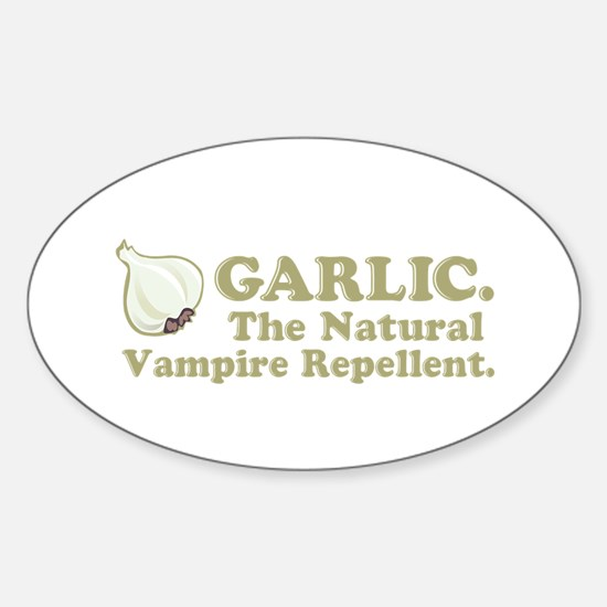 Garlic Vampire Repellent Oval Decal