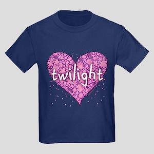 Twilight Retro Purple Heart with Flowers Kids Dark