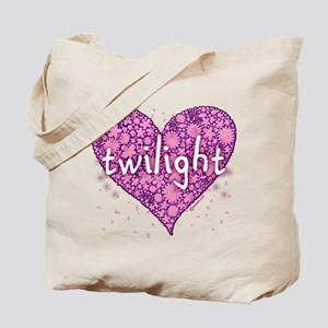 Twilight Retro Purple Heart with Flowers Tote Bag