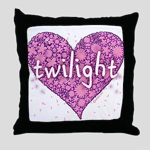 Twilight Retro Purple Heart with Flowers Throw Pil