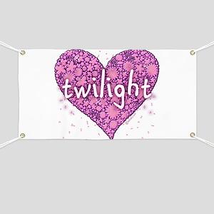 Twilight Retro Purple Heart with Flowers Banner