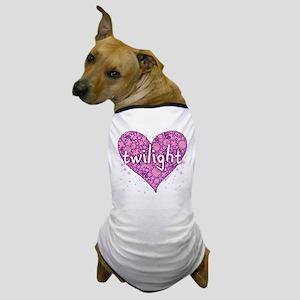 Twilight Retro Purple Heart with Flowers Dog T-Shi