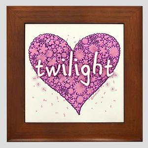 Twilight Retro Purple Heart with Flowers Framed Ti