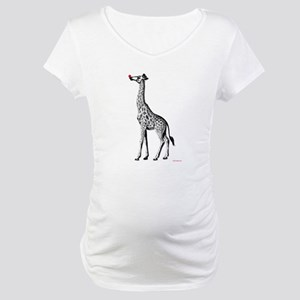 Red Nosed Giraffe Maternity T-Shirt
